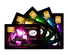 Free Fan Of Credit Cards Over White Background Stock Photo - 30260480