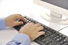 Free Hands Typing On Keyboard Stock Photos - 30269643