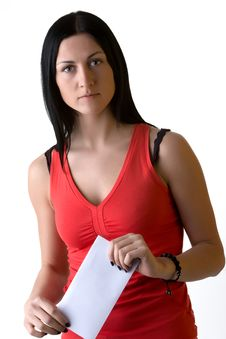 Portrait Of Brunette Girl With Letter Envelope Royalty Free Stock Photography