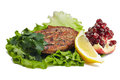 Free Grilled Steak With Salad And Lemon  On White Royalty Free Stock Image - 30283096