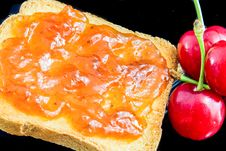 Free Jam, Cherries And Bread Stock Photography - 30282872