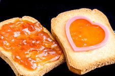 Free Jam, Plastic Heart And Bread Royalty Free Stock Photography - 30282907