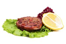 Free Grilled Turkey Steak With Lemon And Pomegranate On Leaf Of Salad Stock Images - 30283104