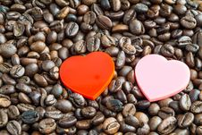 Free Hearts On Coffee Beans Royalty Free Stock Image - 30283106