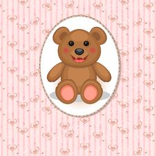 Free Baby Card With Toy Bear Royalty Free Stock Images - 30283869