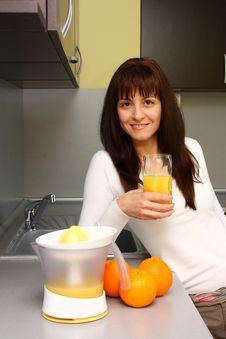 Free Woman With Orange Juice Stock Photos - 30288173