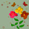Free Simple Flower Vector Background With Butterflies. Royalty Free Stock Photography - 30280527