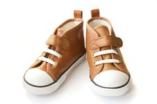 Free Brown Sneakers  On White Background Royalty Free Stock Image - 30294846