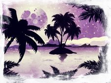 Free Grunge Night Tropic Island Stock Image - 30298751