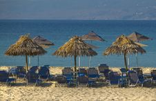 Umbrellas On Exotic Beach Stock Photography