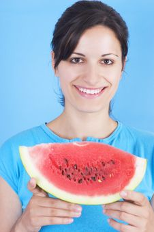 Free Girl With Watermelon Stock Photography - 3030602