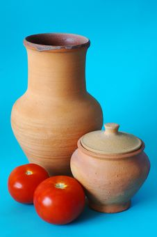 The Jugs And Tomatos Stock Photo