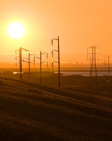 Free Sunset And Electric Lines Stock Images - 3034304