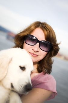 Free Woman Portrait With Dog Stock Photos - 3034333