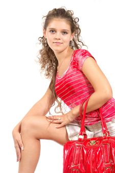 Girl With Red Bag Royalty Free Stock Photography