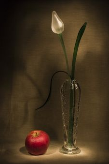 Free Glass Flower And Apple Royalty Free Stock Photo - 3038545