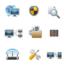 Free Computer Network Icon Set Stock Images - 30300764