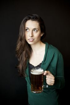 Free Beautiful Young Woman Holding Mug Of Beer Royalty Free Stock Images - 30302919
