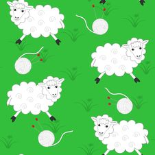 Free Sheeps And Balls For Knitting Royalty Free Stock Photos - 30306258