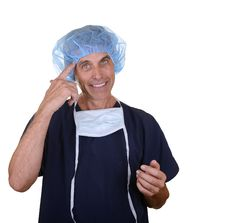 Free Smiling Doctor Pointing At His Head Stock Photo - 30306560
