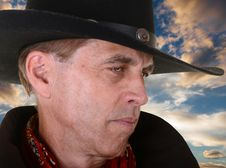 Free Close Up Of Cowboy Against Sunset Royalty Free Stock Photos - 30308518