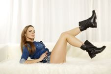 Free Beautiful And Attractive Female Woman Posing In Blue Jeans Dress Stock Images - 30314644