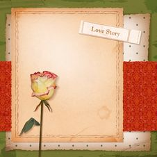 Scrapbook Old Paper Background With Dried Rose Stock Image