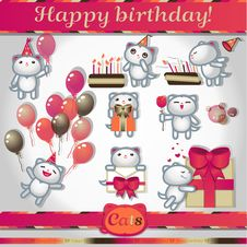 Free Cats Color Icons: Happy Birthday Stock Photography - 30315872