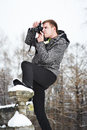 Free Young Man With A Camera At Winter Stock Photography - 30337682