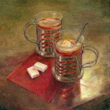 Tea With Lemon. Oil Painting. Royalty Free Stock Photos