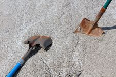 Free Two Work Shovels In Mound Of Gravel. Stock Photo - 30338580