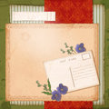Free Scrapbook Old Paper Background With Dried Flower Royalty Free Stock Photo - 30340185