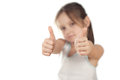 Free Portrait Of A Girl Showing Thumbs Up Isolated Stock Photography - 30345702