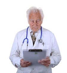 Free Senior Doctor Looking At Clip Board Stock Photo - 30344230