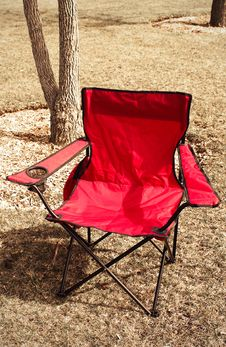 Red Camping Chair Royalty Free Stock Photo