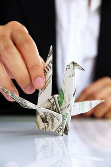 Free Business Man Hand Holding Origami Paper Cranes Stock Photos - 30348673