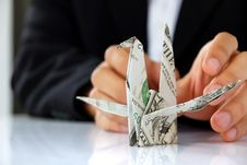 Free Business Man Hand Holding Origami Paper Cranes Royalty Free Stock Photos - 30348678