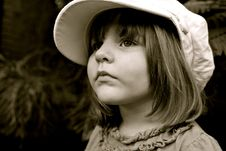 Free Little Girl S Portrait With The Big Cap Stock Photography - 30349472