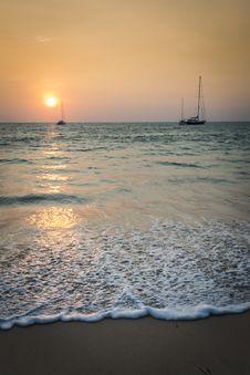 Sunset At Nai Yang Beach, Phuket, Thailand Stock Images
