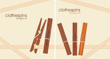 Free Wooden Clothespins. Background For Design Stock Photo - 30364210
