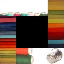 Free Background Sewing, Fabric, Thread And Thimble Stock Photo - 30365610
