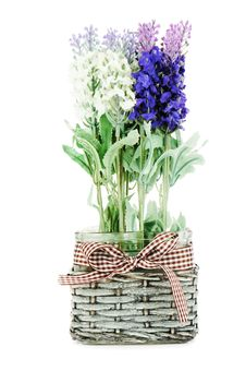 Composition Of Artificial Garden Flowers In Decorative Vase. Stock Photography