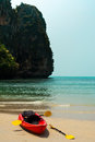Free Tropical Beach Landscape With Red Canoe Boat Royalty Free Stock Photo - 30370495