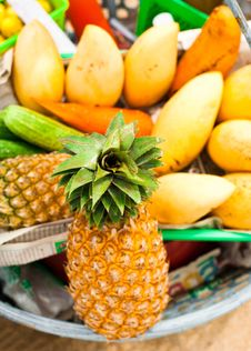 Selling Tropical Fruits And Vegetables At Market Stock Photos