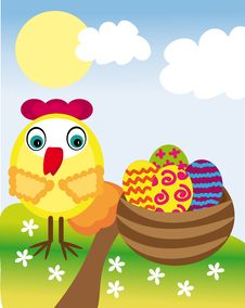 Free Easter Eggs And Chicken Royalty Free Stock Photo - 30371035