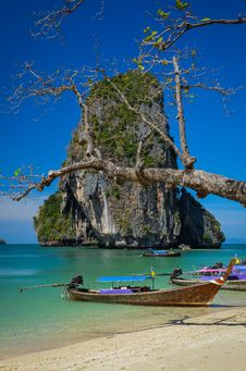 Phra Nang Beach And Island Landscape View With Tree And Boat Stock Photo
