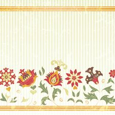 Free Vector Background With Retro Flowers Stock Photography - 30375042