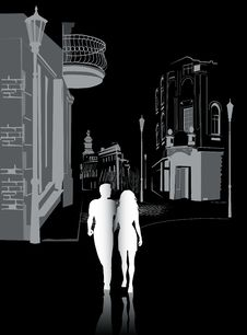Free Man And Woman Walking In The City1 Royalty Free Stock Photography - 30375207