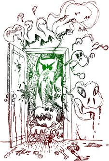 Free Horror Open Door Vector Royalty Free Stock Image - 30375366