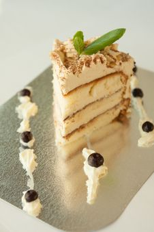 Free Piece Of Vanilla Cake Royalty Free Stock Photos - 30375918